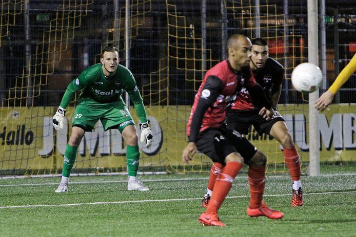 Danu Centen, vorig seizoen in het doel van De Treffers tijdens een bekerduel.
