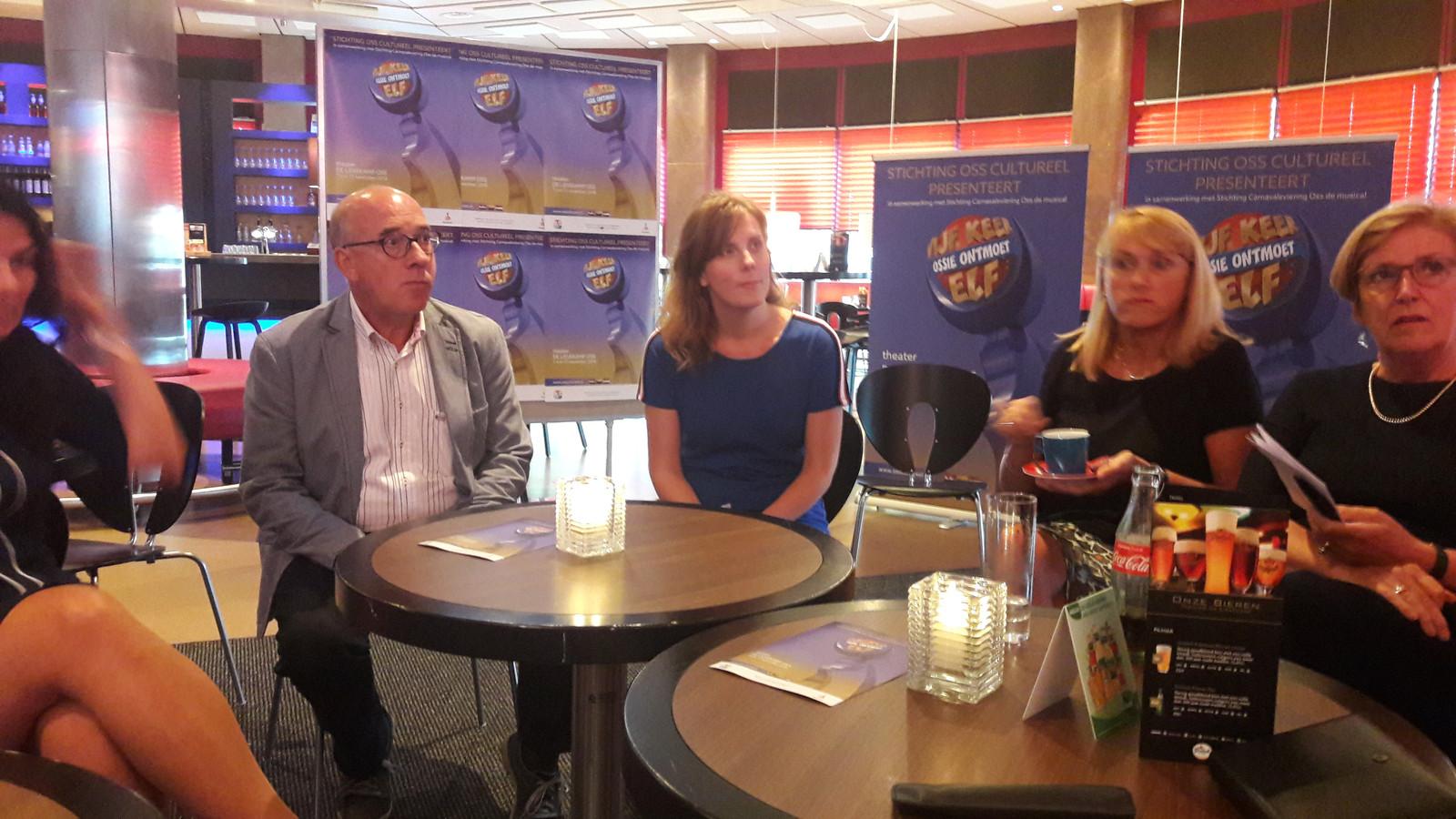 Beeld van de persconferentie over de nieuwe Osse musical in het theatercafé van De Lievekamp.
