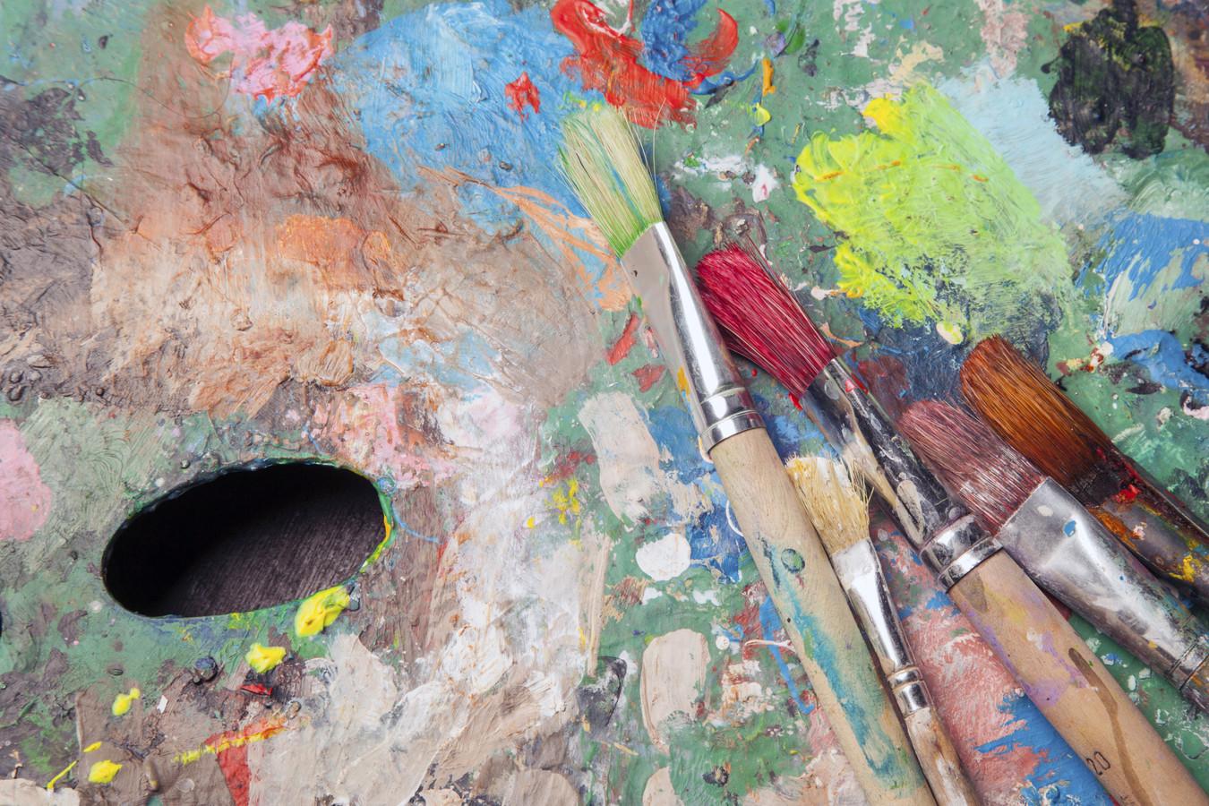 stockadr stockpzc kunst expositie tentoonstelling schilderen schilderij hobby kwast palet schilder