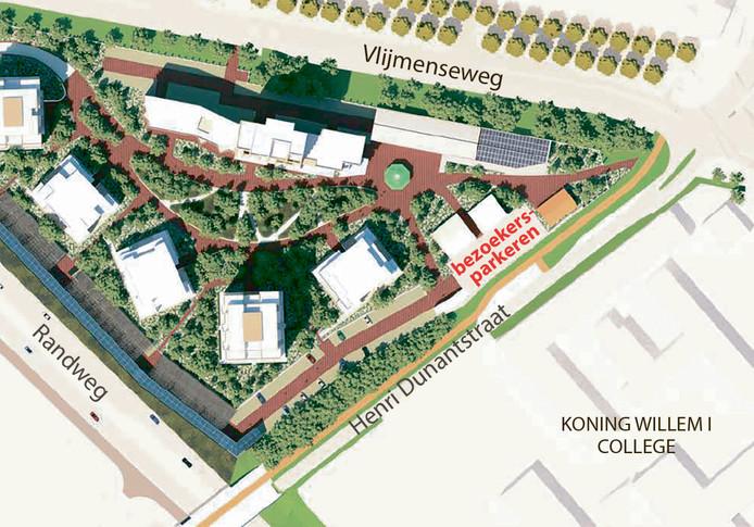 Een deel van de plantekening van Willemspoort, met daarop de bezoekersparkeerplaatsen. Zoals in het Stedenbouwkundig Plan is opgenomen.