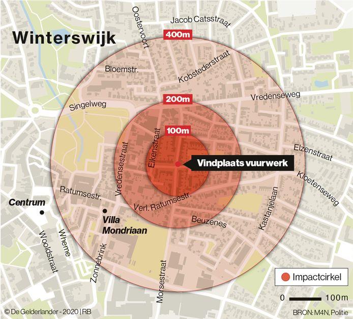 Het vuurwerk dat in een schuurtje aan de Scholtenenk in Winterswijk lag, zou bij ontploffing impact hebben gehad in een cirkel van 400 meter rondom, aldus de politie.