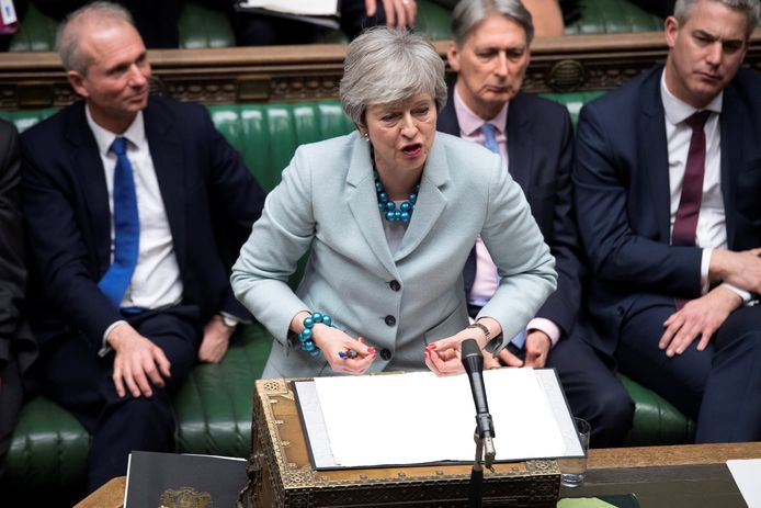 Theresa May gisteren in het parlement.