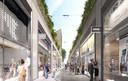 Impressie van de nieuwe Emmastraat met dubbelhoge puien, gezien vanaf het stadskantoor.