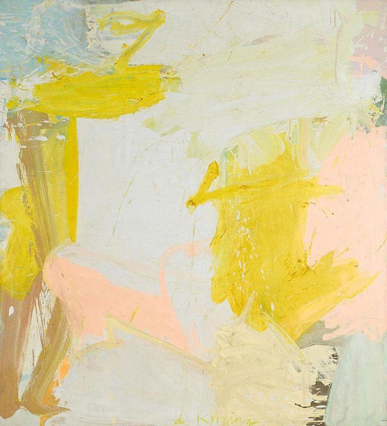 Kunst: Willem de Kooning, Rosy-Fingered Dawn at Louse Point. 'Al dat roze en geel. Het schilderij verdwijnt als je de kleur eruit draait. Het ís kleur.' Beeld Collectie Stedelijk Museum