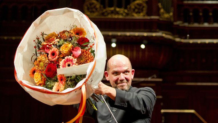 Van Zweden in 2011 bij zijn afscheid van het Radio Filharmonisch Orkest, waar hij zes jaar aan verbonden was Beeld anp