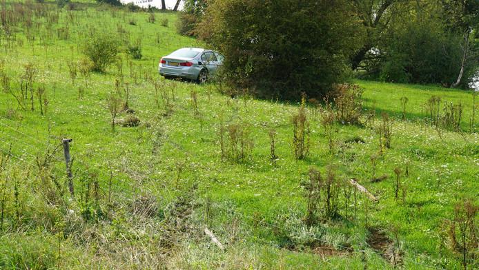 De auto verderop in het weiland in Appeltern.