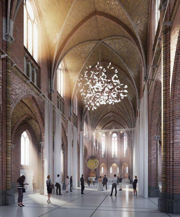 Een impressie van het interieur van de Paterskerk als de renovatie van complex Mariënhage klaar is.