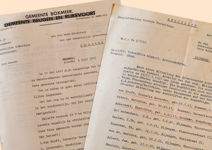 De twee brieven over de slachtoffers van Neheim-Hüsten.