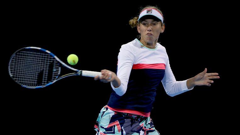 Elise Mertens in actie in Peking.