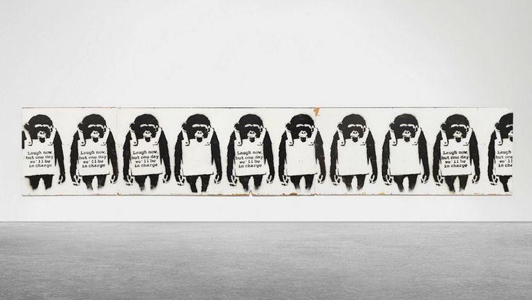 Laugh Now, One Day We'll Be In Charge van Banksy is vanaf dindag 6 december te zien. Beeld Moco