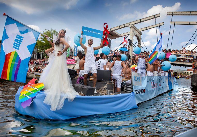 De Iran-boot tijdens de Canal Parade in 2018 te Amsterdam.  Beeld Hollandse Hoogte / Maarten Hartm