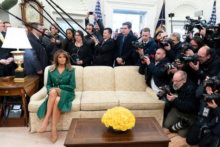 De foto waarmee het Witte Huis Melania op Twitter een gelukkige verjaardag wenst.