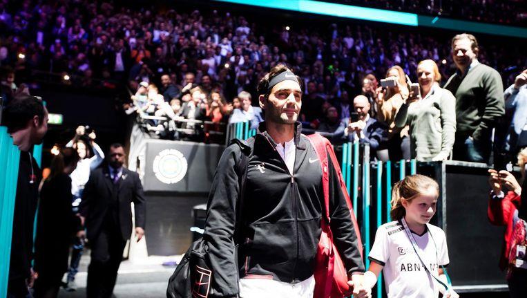Roger Federer komt op voor zijn partij tegen de Belg Ruben Bemelmans, in de eerste ronde van het ABN AMRO World Tennis Tournament. Beeld null