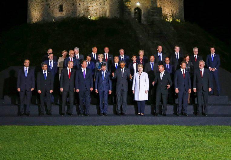 De leiders van NAVO-landen die vorige week samenkwamen in Wales. Beeld reuters