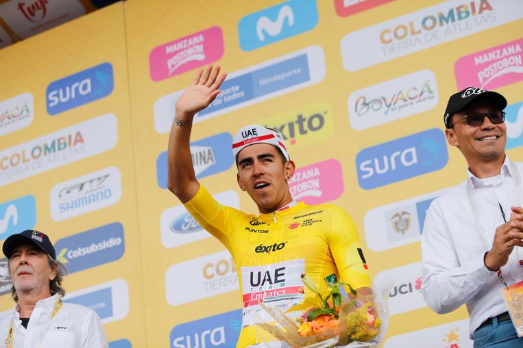 Colombian Juan Sebastian Molano of UAE Team Emirates celebrates on the podium after the fourth stage of the Tour of Colombia cycling race, 168,6 km from Paipa to Santa Rosa de Viterbo, in Colombia, Friday 14 February 2020. BELGA PHOTO YUZURU SUNADA - FRANCE OUT