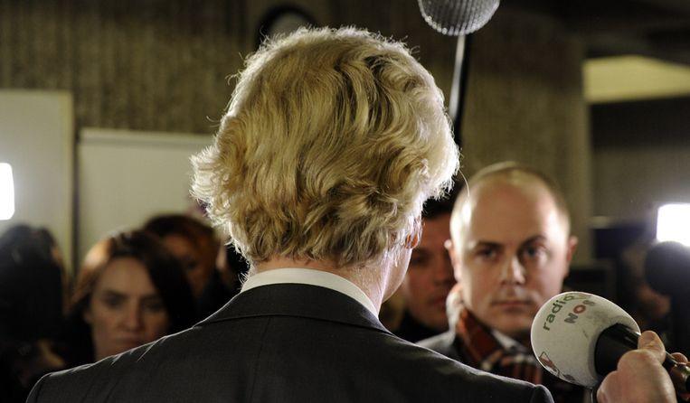 Wilders in 2010 in de rechtbank in Amsterdam, tijdens het proces tegen hem. Beeld anp