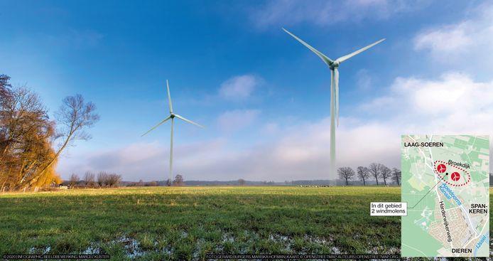 Zo zal het gebied bij de Broekdijk eruit zien als er windmolens staan. De illustratie is gemaakt door de Gelderlander.
