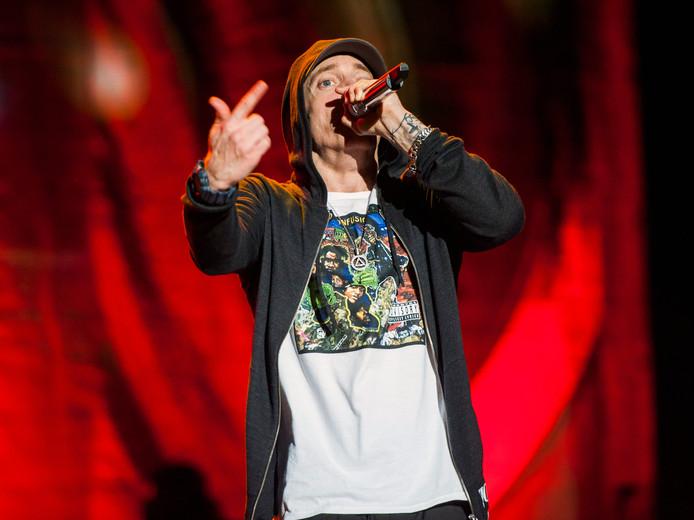 Eminem tijdens een show in 2014.