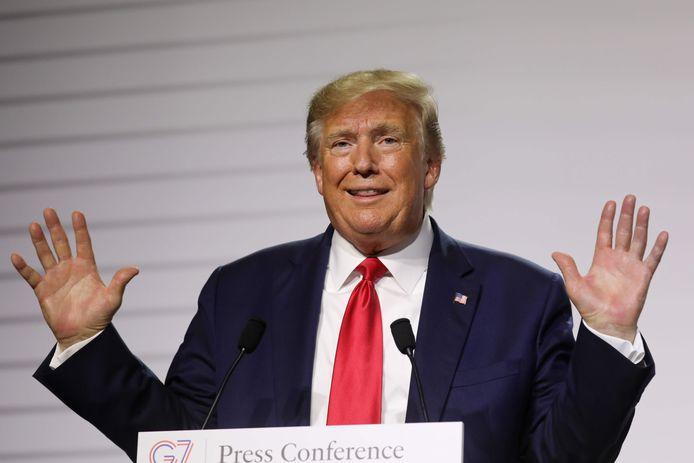President Donald Trump tijdens een persconferentie op de G7-top.