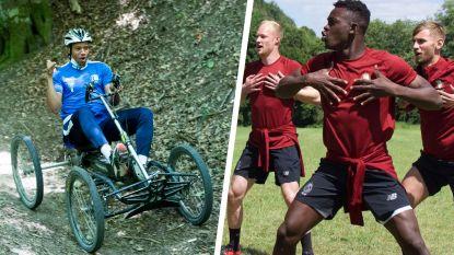 FOTO. AA Gent-aanvoerder Vadis amuseert zich op vier wielen op stage, Standard-spelers wagen zich aan haka