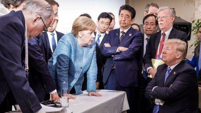 Trump tweet eigen G7-foto's die moeten tonen dat hij wél overeenkomt met leiders