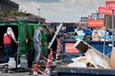 Drukte op de milieustraat op Treurenburg in Den Bosch.