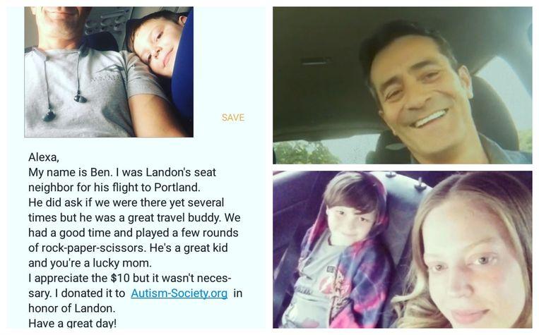 Na de landing ontving mama Alexa deze selfie met een hartverwarmende boodschap over Landon (7). Foto rechtsboven: Ben Pedraza.