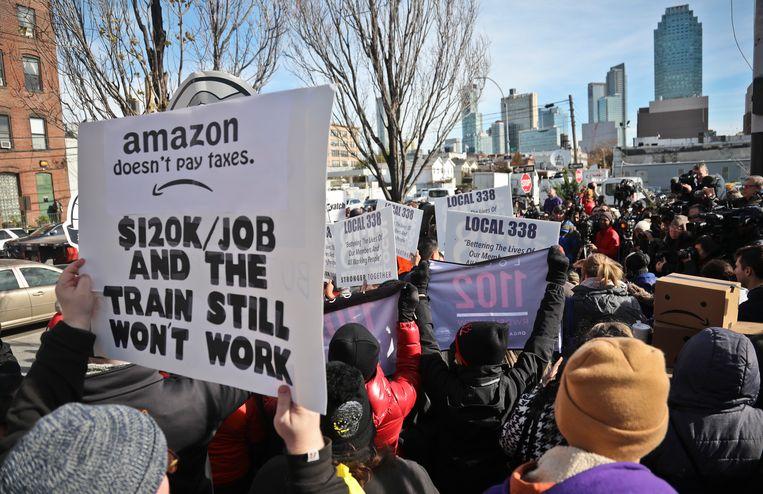 Een anti-Amazondemonstratie in Long Island in november. Beeld AP
