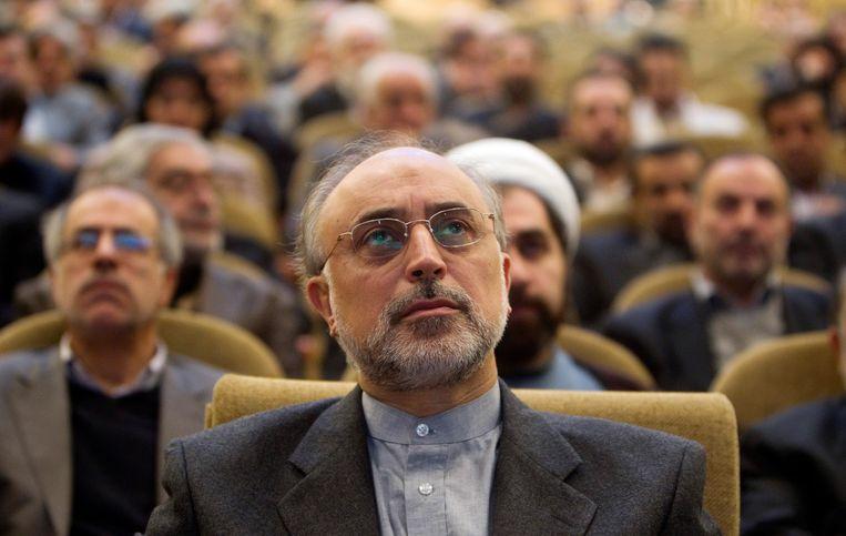 De Iraanse atoomchef  Ali Akbar Salehi tijdens een bijeenkomst op de universiteit van Teheran in 2010.