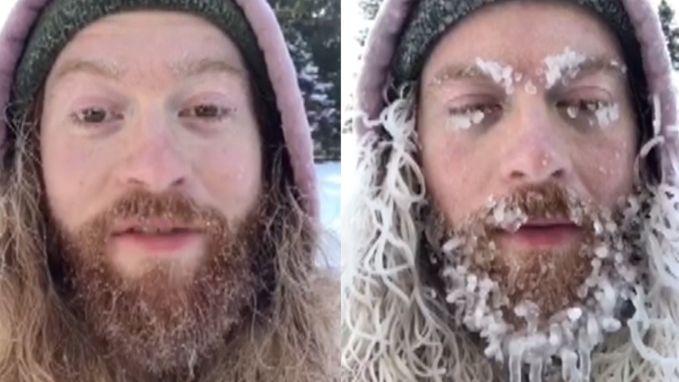 Deze man zijn baard bevriest bij -26 graden