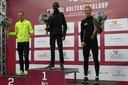 Het podium bij de 1o km mannen