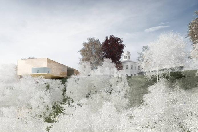 Een toekomstimpressie van het museum, met links de oversteek over de stuwwal.