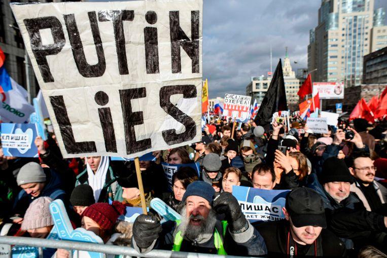 Een demonstratie voor internetvrijheid op 10 maart  in Moskou.