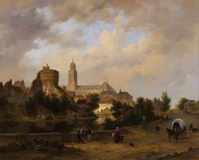 Fantasie- skyline van Deventer Wat doet die toren naast de Lebuinuskerk? Vereniging de Waag kocht in 2011 dit Gezicht op Deventer van B.J. van Hove (1790-1880). Het is geen weergave van de werkelijkheid maar een fantasie-stadsgezicht.