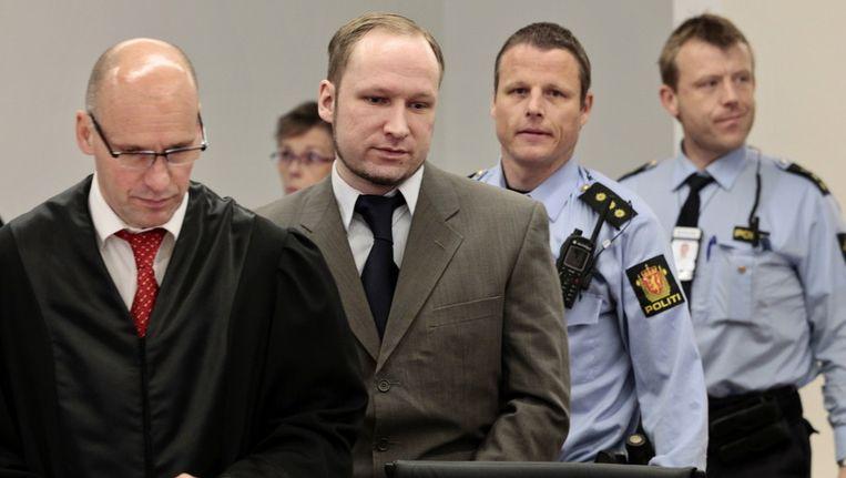 Anders Breivik in de rechtszaal Beeld ap