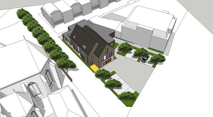 Zicht op de plek waar het nieuwe parochiecentrum moet komen. Links de Lambertuskerk.