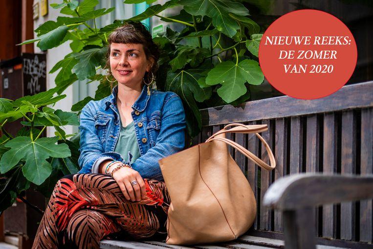 Katherine Nash, voor haar voormalig restaurant in centrum Antwerpen.