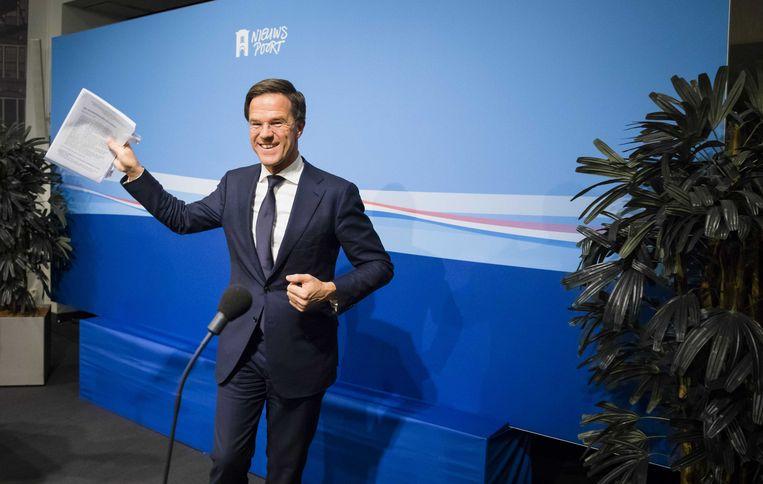 Minister-president Mark Rutte tijdens de persconferentie na de wekelijkse ministerraad.  Beeld ANP