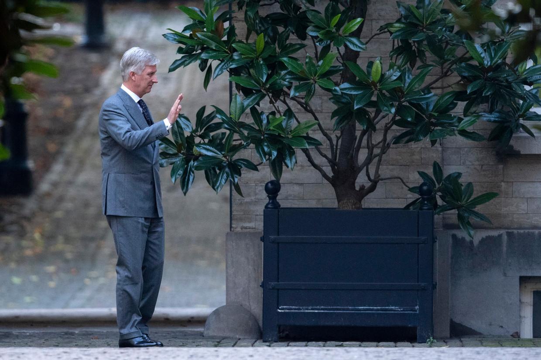 Koning Filip ontvangt de partijkopstukken in het paleis.