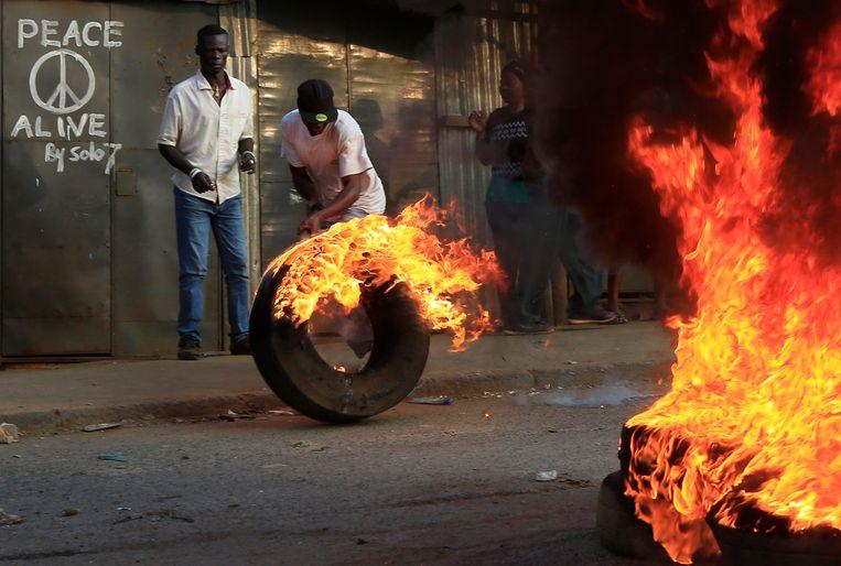 Rellen in Kenia na voorlopige verkiezingsuitslag. Beeld AP