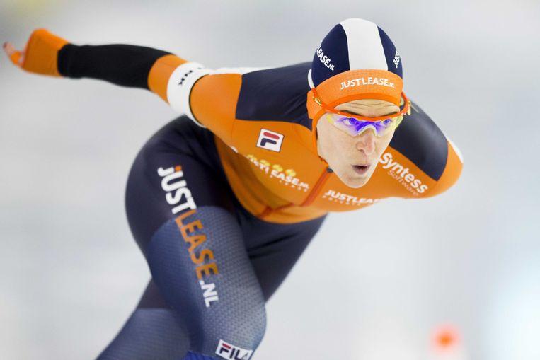 Ireen Wust in actie op de 1000 meter tijdens het Olympisch Kwalificatie Toernooi (OKT) in Thialf.  Beeld ANP