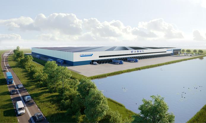 Het nieuwe distributiecentrum van Mainfreight Europe in Zaltbommel zoals dat straks te zien is vanaf de N322.