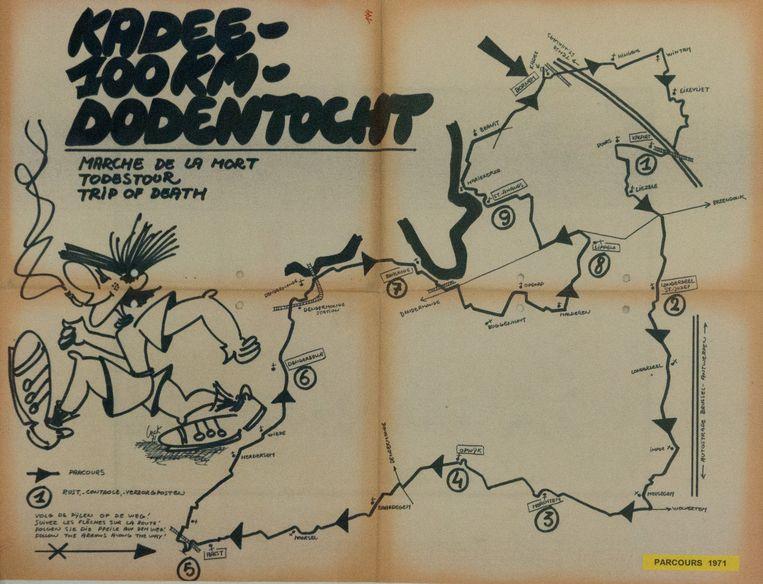 Het eerste Dodentochtparcours uit 1971