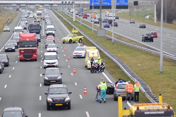Het verkeer ondervond erg veel hinder van de aanrijding op de A2 bij Hagestein