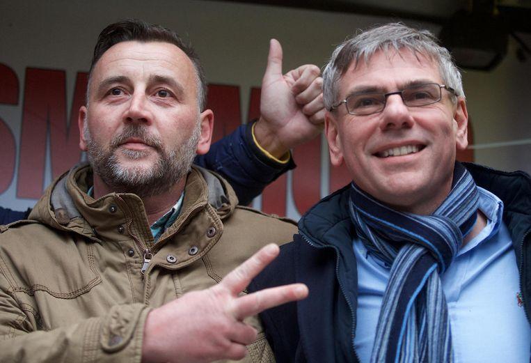 De Duitse Pegida-oprichter Lutz Bachmann demonstreerde samen met VB-boegbeeld Filip Dewinter gisteren in Antwerpen.