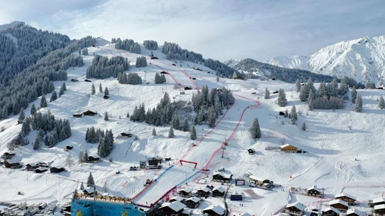 Op deze mooi besneeuwde piste in Adelboden wil Maes zaterdag opnieuw WB-punten halen.