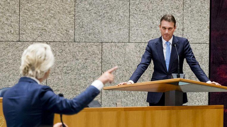 Halbe Zijlstra in debat met Geert Wilders. Beeld anp