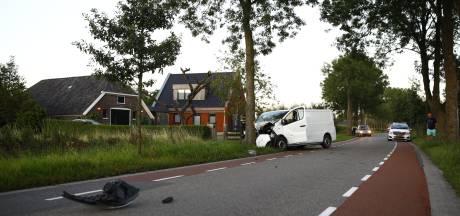 Bestelbus botst tussen Hasselt en Zwolle op boom, bestuurder gewond