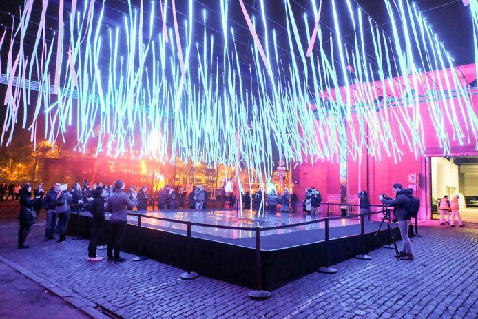 Een van de prachtige lichtinstallaties op het Brussels Bright Festival.