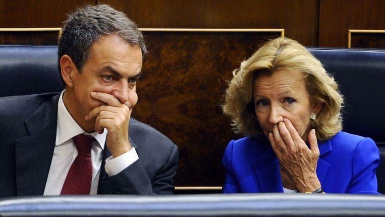 Premier Zapatero (links) en minister Salgado. Beeld AFP